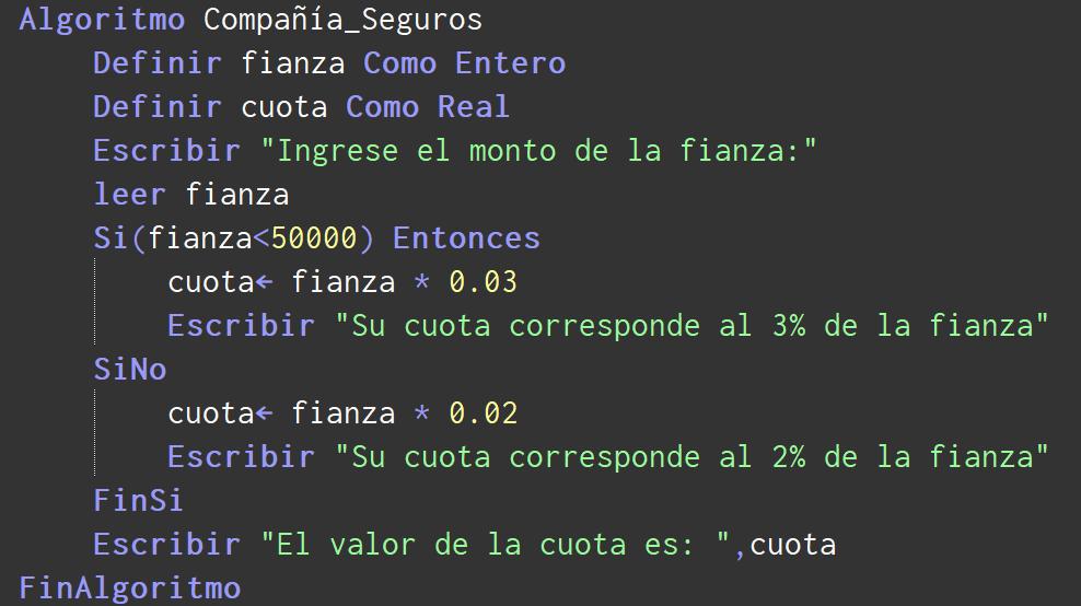 Algoritmo COMPAÑÍA DE SEGUROS en PSeInt