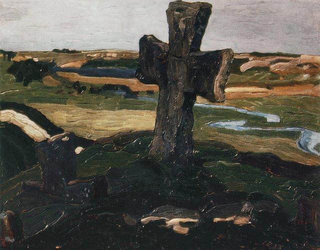 Николай Рерих - Изборск. Крест на Труворовом городище. 1903