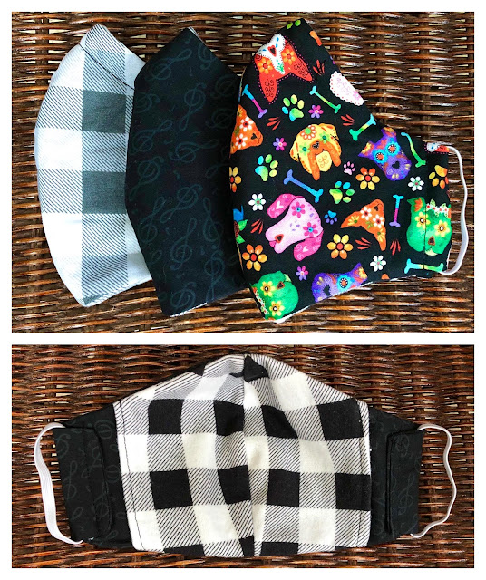 3-layer Olson-type face masks with flannel filter pocket