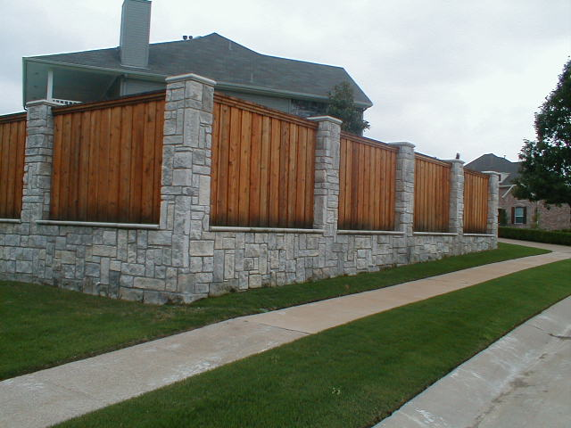 Fencing - Residential and Commercial - A&H Landscaping  |Stone And Wood Fence