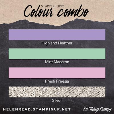 Stampin Up colour combination Fresh Freesia Highland Heather Mint Macaron