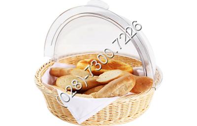 Khay đựng trưng bày bánh mì tròn có nắp pc