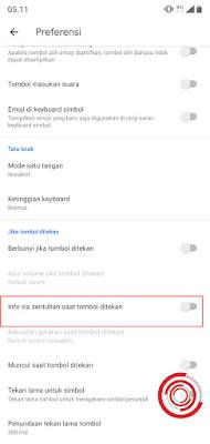 7. Jika sudah tidak aktif, maka keyboard jika ditekan tidak akan bergetar lagi