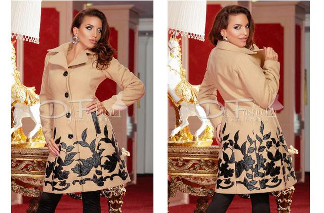 palton dama elegant toamna bej, cu aplicatii de piele 2016
