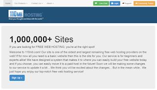 110MB free web hosting