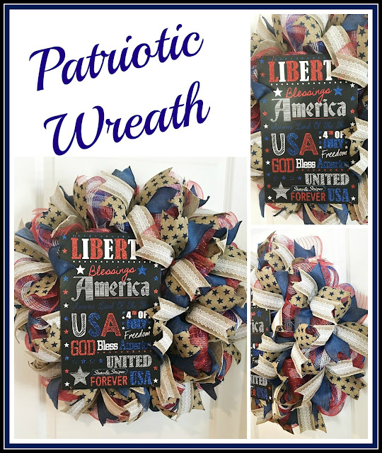 Vintage Paint and more... patriotic wreath made with red white and blue deco mesh and beautiful wire edged ribbons, featuring a chalkboard sign