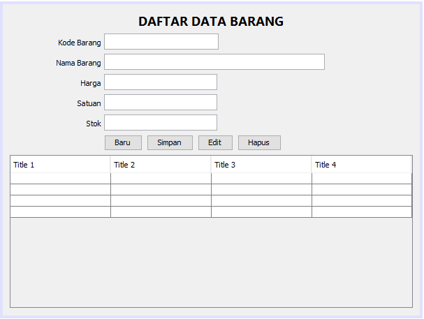 form data barang