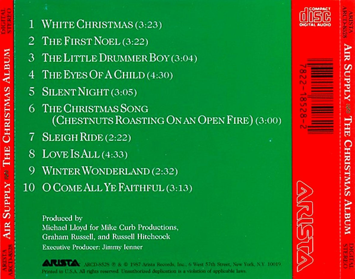 air one christmas song list