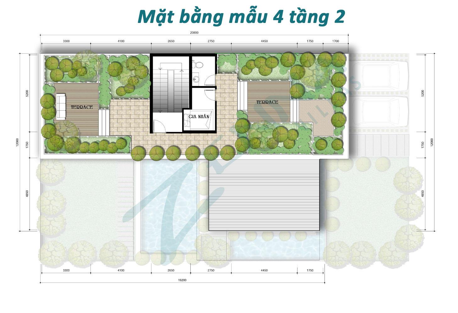 Mặt bằng tầng 2 mẫu 4 biệt thự Zenna Villas