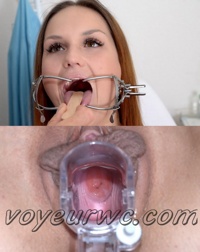 Young girls at gynecologic examination. Detailed full body and pussy medical examination before deep vaginal and anal inspection on gyno chair