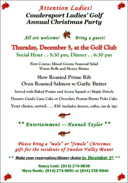 12-5 Coudersport Ladies Golf Christmas Party