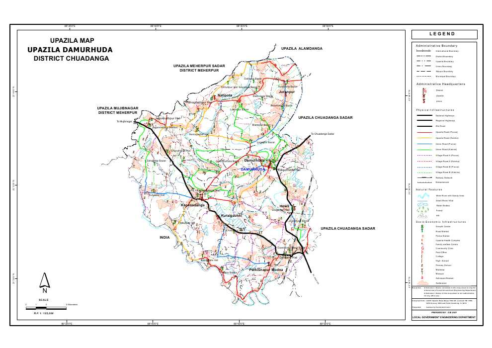 Damurhuda Upazila Map Chuadanga District Bangladesh