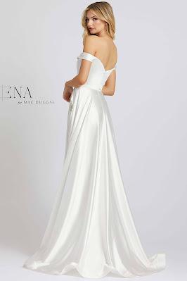 Off the shoulder A-line Evening Dress Ieena For Mac Duggal white Color Back side