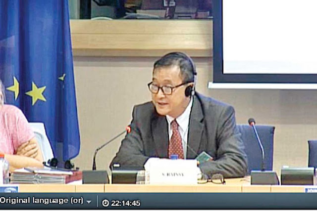 Self-exiled opposition leader Sam Rainsy speaks in July at the European Parliament, where he called for stricter action from the EU to ensure legitimate elections in 2017 and 2018. Photo supplied