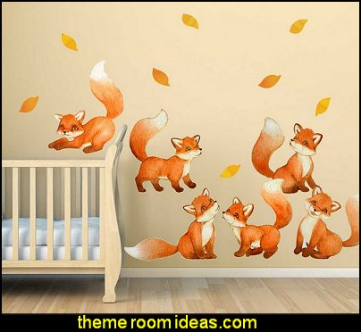 Foxes Watercolor Wall Decal Set - Nursery Wall Decal