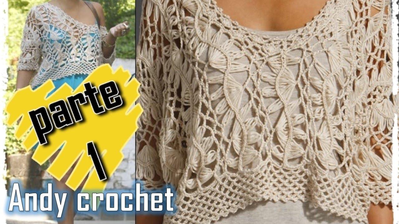 0cc7167fc BLUSA EN HORQUILLA Y CROCHET FÁCIL DE TEJER | Patrones Crochet ...