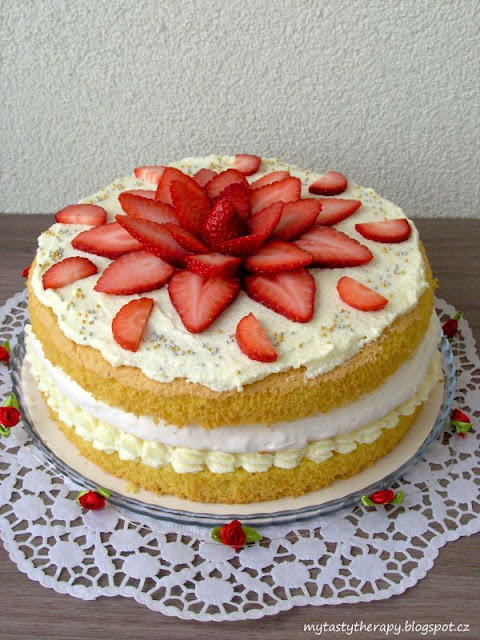 vanilla cake with meringue and strawberries