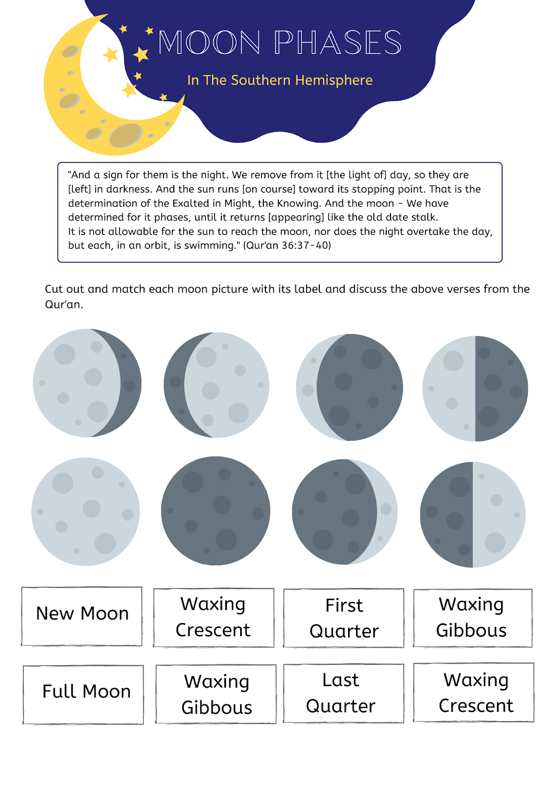 Moon Phases In The Southern Hemisphere Worksheet