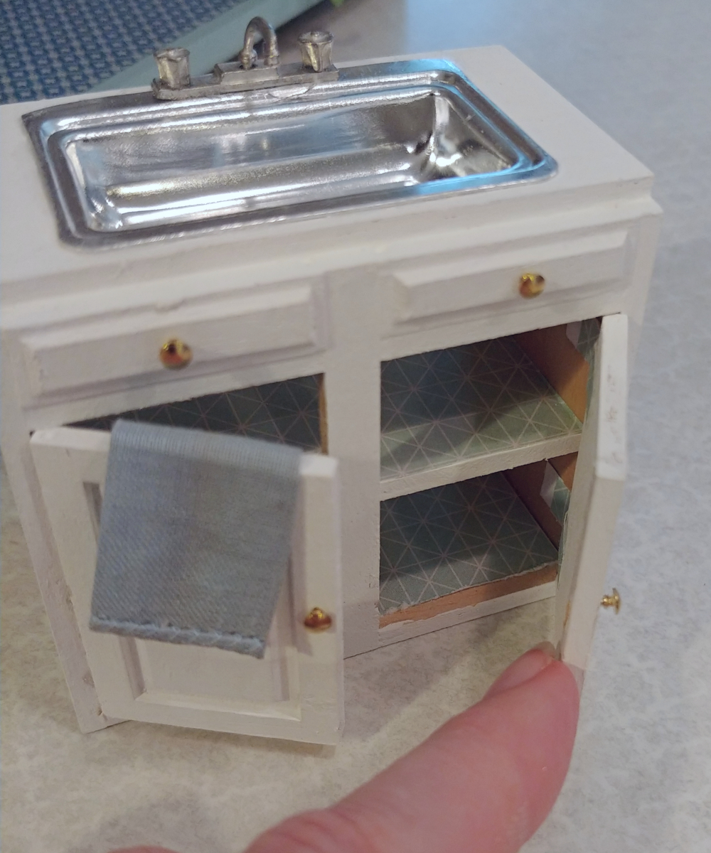 Dollhouse Kitchen Sink and Open Shelves - Little Vintage Cottage on plumbing under kitchen sink, cleaning under kitchen sink, painting under kitchen sink, curtains under kitchen sink, paint under kitchen sink, electrical under kitchen sink, drawers under kitchen sink, storage under kitchen sink,