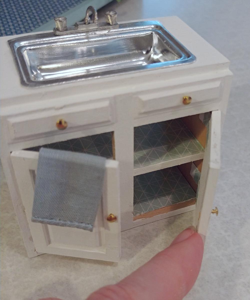 Dollhouse Kitchen Sink And Open Shelves Little Vintage Cottage