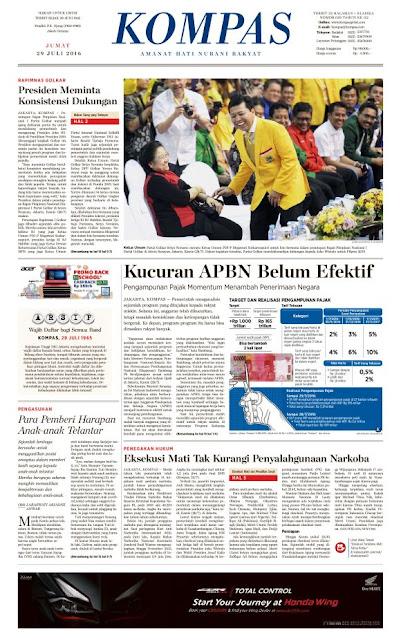 Kompas Edisi Jumat 29 Juli 2016