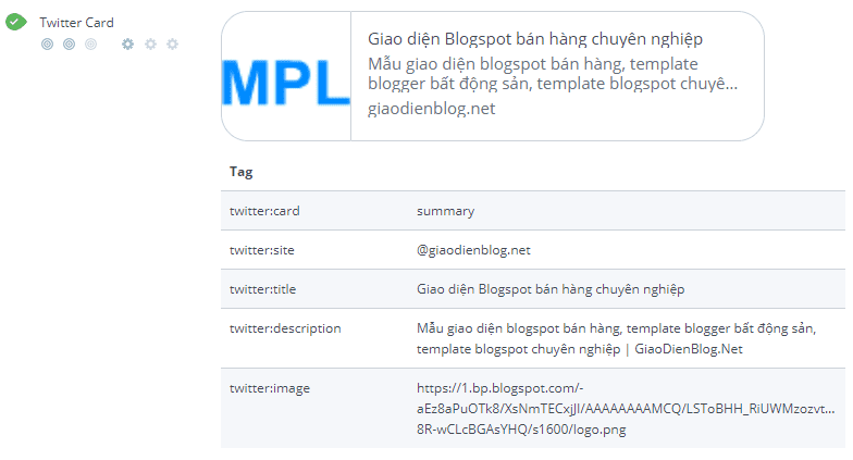 Thẻ Meta Twitter chuẩn SEO cho blogspot