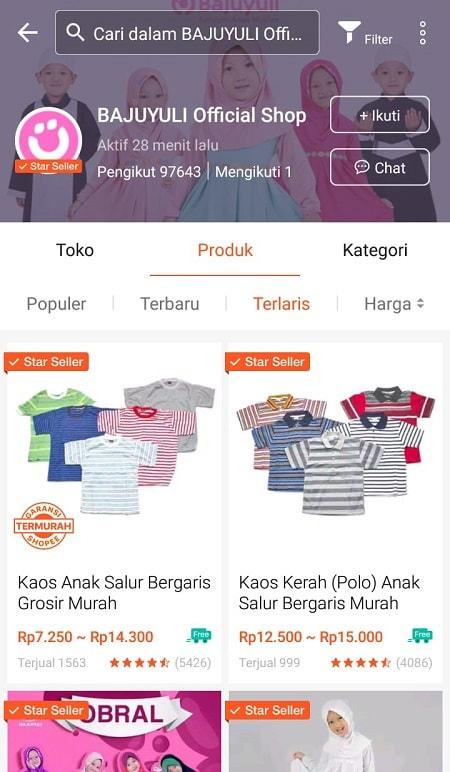 Tampilan Produk Terlaris di Profil Shopee