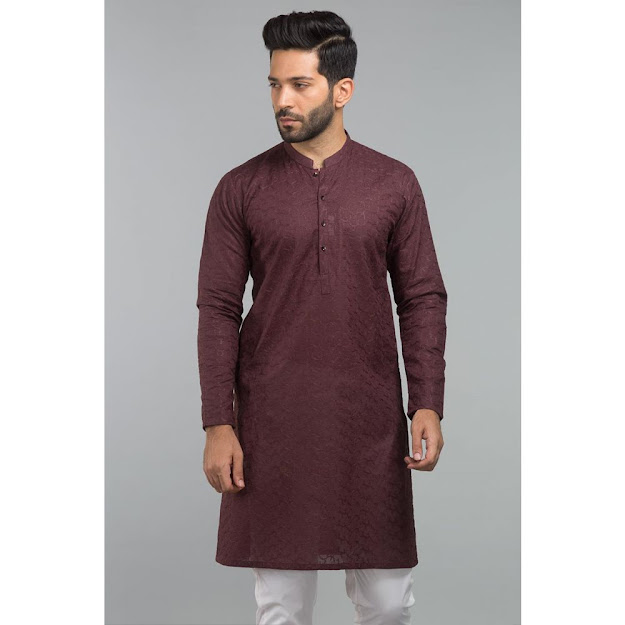 Gul Ahmed Men's Eid collection Brown color kurta