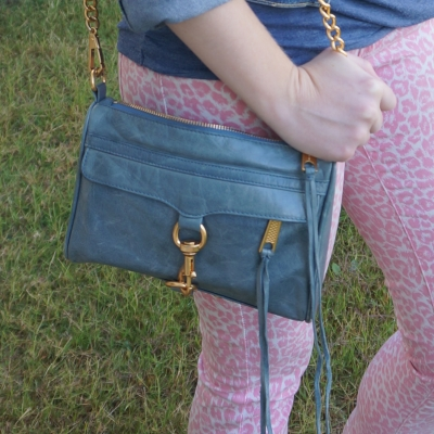 pink leopard print jeans with  Rebecca Minkoff 2012 sky grey mini MAC bag | awayfromblue