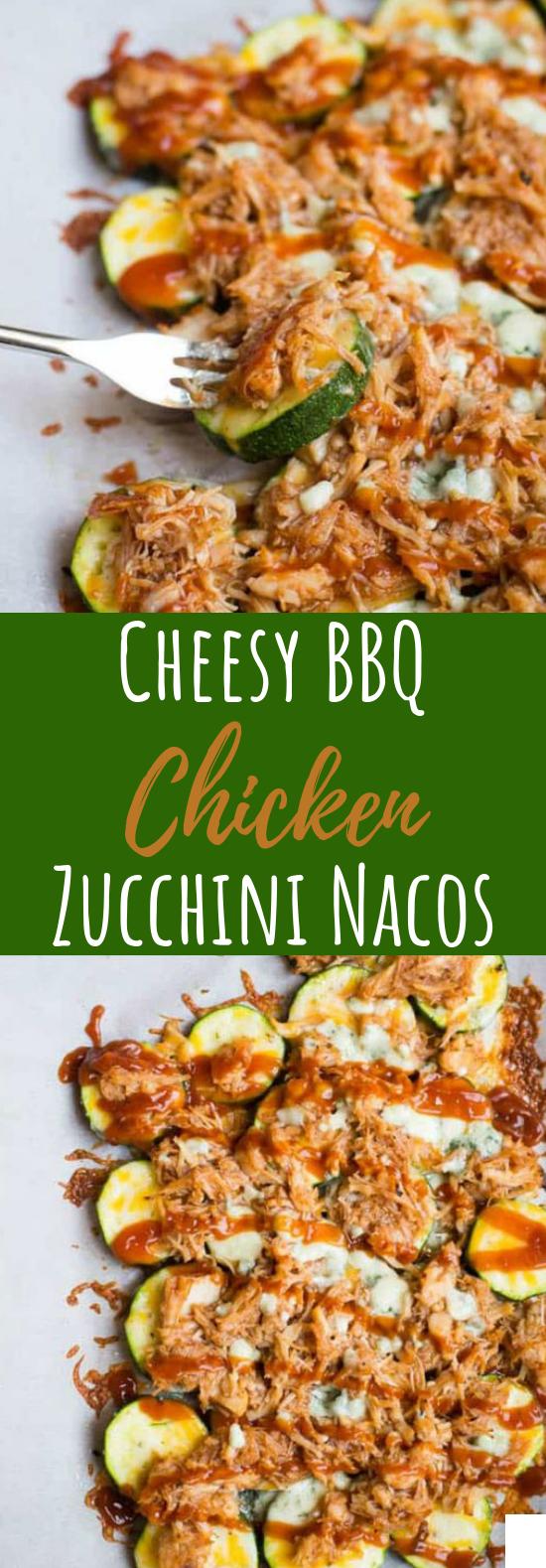 Cheesy BBQ Chicken Zucchini Nachos #healthy #lowcarb