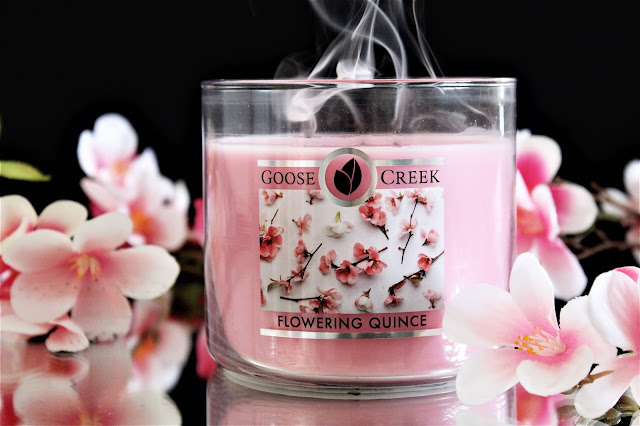 goose creek flowering quince, goose creek candle, bougie goose creek, bougie parfumée 3 mèches, flowering quince, flowering quince goose creek avis, avis goose creek