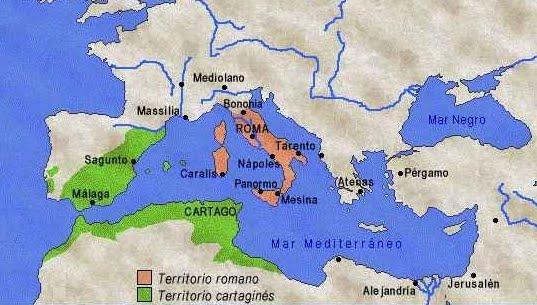 Territórios de Roma e Cartago na época da 2ª Guerra Púnica. Cartago perdeu a região da Sicília e compensou a derrota conquistando a região da cidade de Sagunto, na Espanha, que era aliada de Roma. [fonte do mapa]