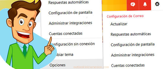 opciones de configuracion de Outlook en outlook iniciar sesión