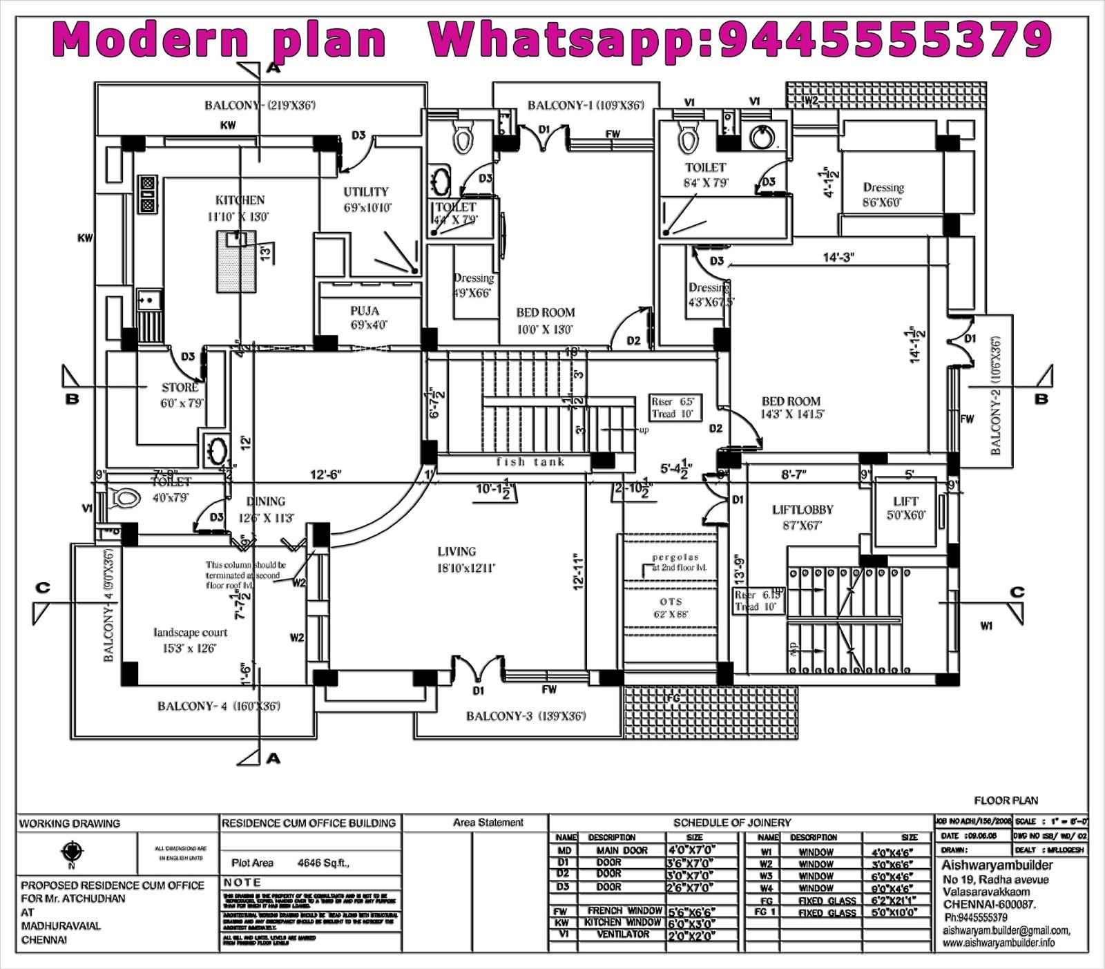 Contractors in Chennai: Modern plan House Chennai,Modern ...