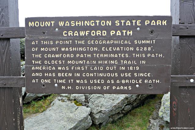 Carteles Informativos de los Senderos en Mount Washington