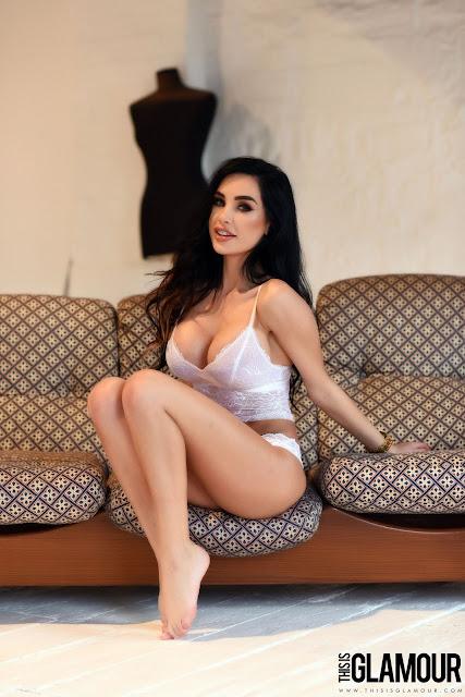 Ann Denise White Lingerie sofa strip tease
