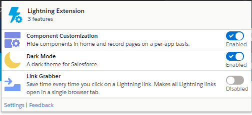Lightning Features with Chrome Extension