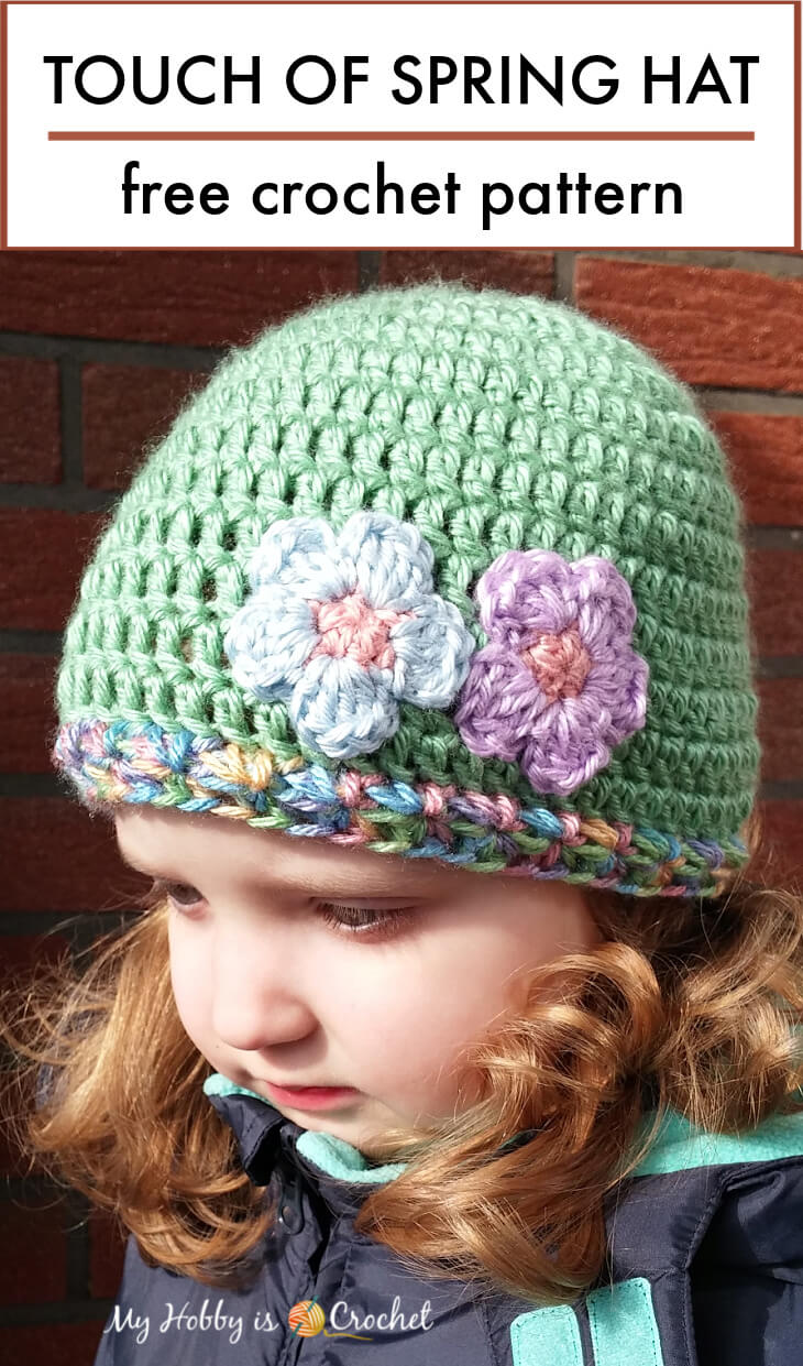 crochet easy hat, double crochet hat, touch of spring crochet hat pattern