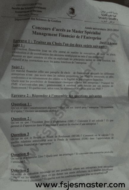 Exemple Concours Master Management Financier de l'Entreprise 2013-2014 - Fsjes Marrakech