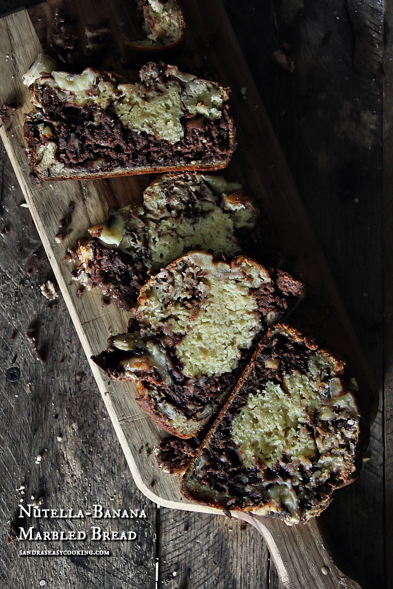Nutella-Banana Marbled #Bread - for more recipes, visit www.sandraseasycooking.com #food #recipes #homemade #baking