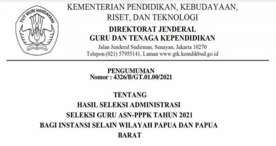 GAMBAR Pengumuman Hasil Seleksi Administrasi PPPK Guru Tahun 2021