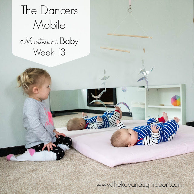 The fourth Montessori baby mobile in the visual series, the Montessori dancers mobile helps to increase visual tracking and concentration in babies.