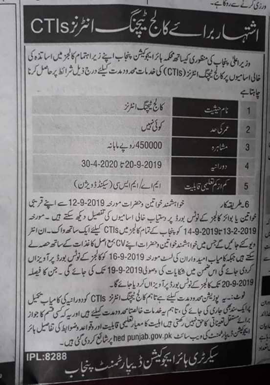 CTI Jobs in Punjab 2019 Advertisement Apply Last Date