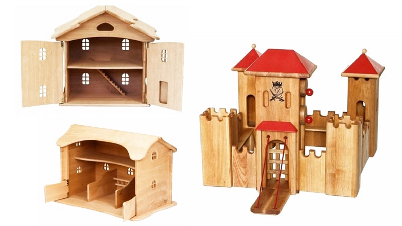 drewart wooden toy doll house, castle and barn