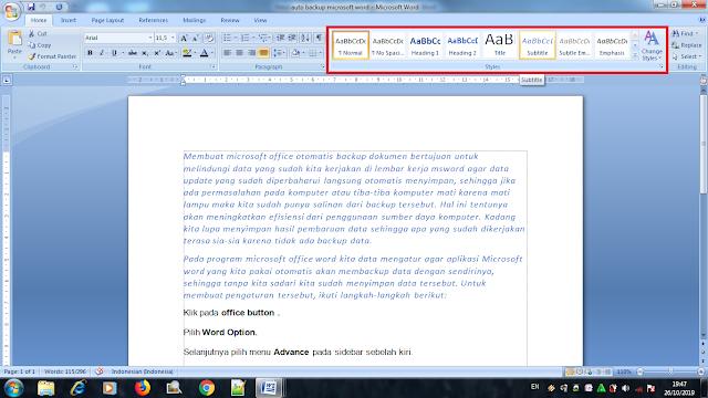 Cara Menggunakan Styles Pada Microsoft Word, panduan membuat styles pada microsoft word, cara merubah gaya pada microsoft word, tutorial menggunakan styles pada microsoft word