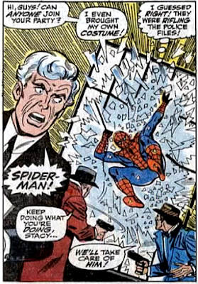 Amazing Spider-Man #60, don heck, john romita, spider-man smashes his way in through the window to confront captain stacy who's trying to steal from the police building