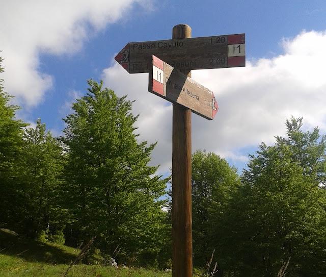 Il segnavia allo stazzo Val di Rose, lungo il sentiero I1