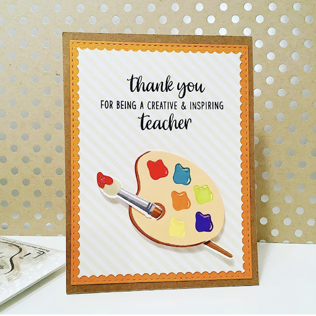 Sunny Studio Stamps: Color My World Teacher Appreciation Customer Card by Judy Tuck