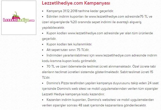 dominos pizza lezzetlihediye.com kampanya promosyon