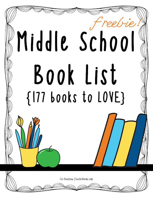 177 novels that your middle school students will LOVE reading.  TeacherKarma.com